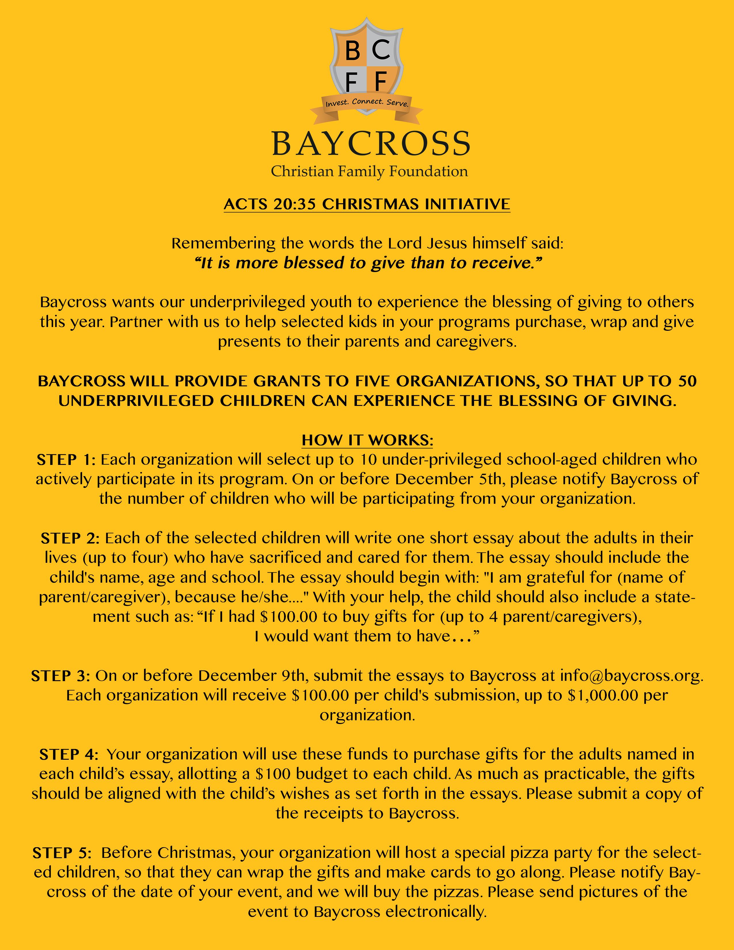 Acts 20:35 Christmas Initiative - Baycross Christian Family